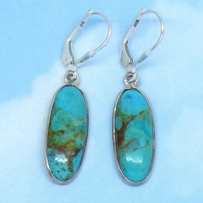 Natural Arizona Turquoise Leverback Earrings - Sterling Silver - Dainty Long Ovals - Minimalist - 161703