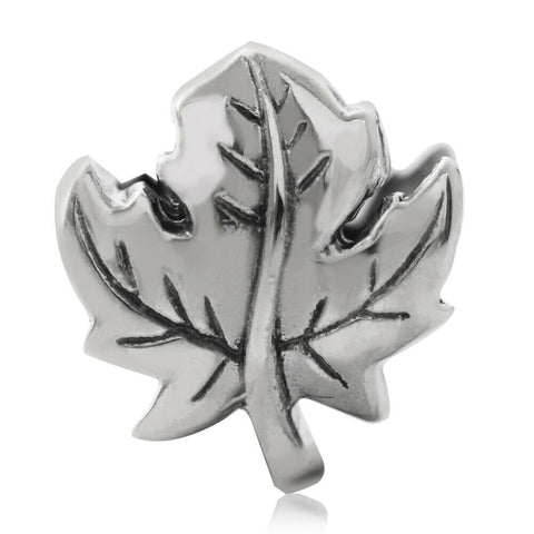 Maple Leaf Canada .925 Sterling Silver European Charm Bead - Fits Pandora Bracelets - Euro Charm - Not Threaded - Hypoallergenic