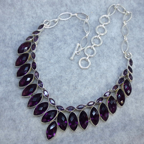 Genuine Amethyst Collar Necklace Sterling Silver 143066