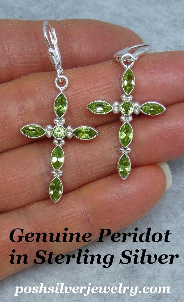 Genuine Peridot Cross Earrings - Leverback - Sterling Silver - Gemstone - 172018