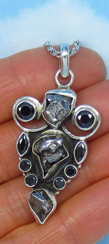 Meteorite Campo del Cielo & Natural Black Onyx Pendant Necklace - Sterling Silver - Large - Celestial - jy161708