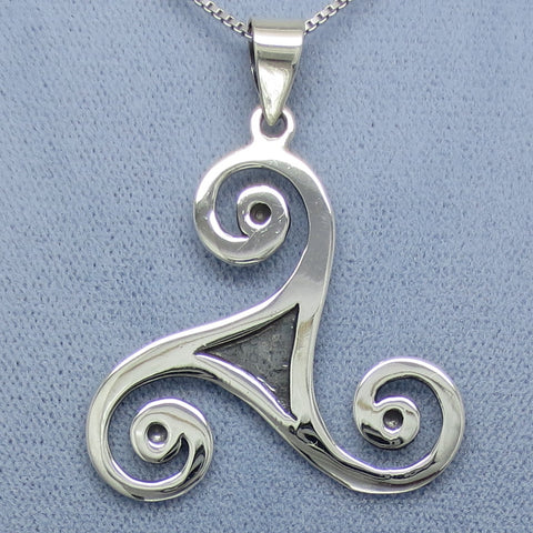Large Triskellion Celtic Knot Pendant Necklace - Sterling Silver -- p250953