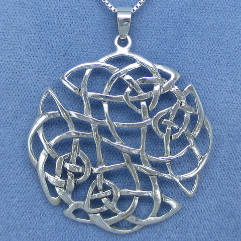 Huge Sterling Silver Celtic Knot Pendant Necklace -- 151678