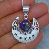 Mojave Purple Copper Turquoise & Amethyst Necklace - Sterling Silver - Moon and Star - SA161358