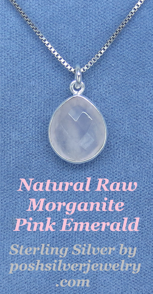 Natural Raw Morganite - Pink Emerald - Necklace - Sterling Silver - Dainty Simple -- M180707