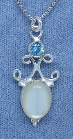 Mother of Pearl Necklace - Blue Topaz Accent - Sterling Silver - Filigree - Victorian Design - Wedding - Sea Shell - p170608