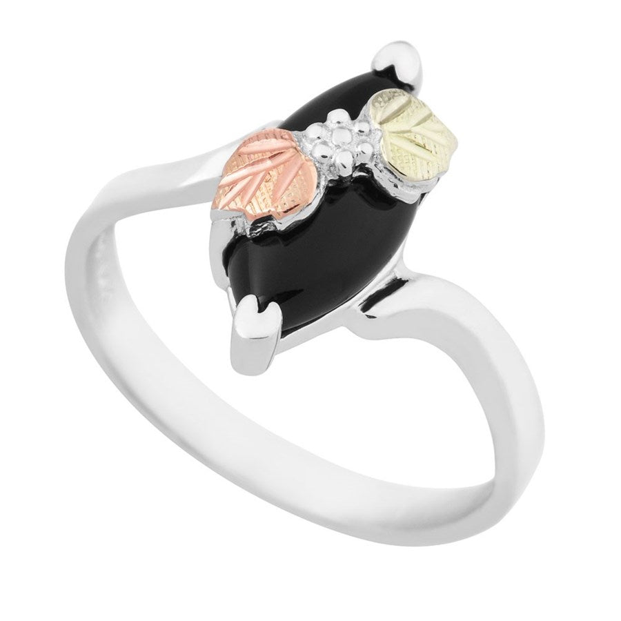 Sizes 3 - 13 Mt. Rushmore Black Hills Gold & Silver Onyx Ring - Grape Cluster - Sterling Silver & 12K gold accents - Made to Order - MR1271OX