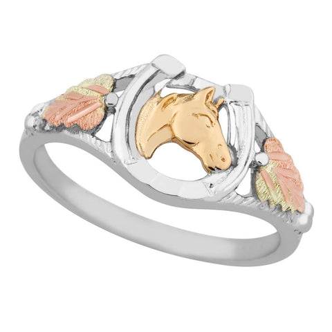Sizes 5 - 10 Mt. Rushmore Black Hills Gold on Silver Horse Head Ring - Sterling Silver and 10K & 12K gold accents - Handmade - MR1376