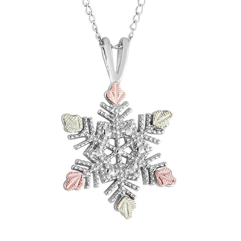 Mt. Rushmore Black Hills Gold on Silver Snowflake Necklace - 12K Rose Pink and Green Gold Accents - Handmade -MR20085