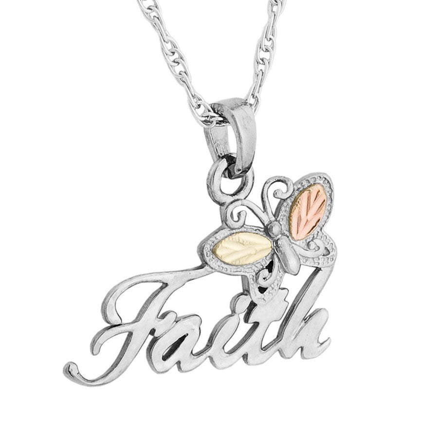 Mt. Rushmore Black Hills Gold on Silver Faith Butterfly Necklace - 12K Rose Pink and Green Gold Accents - Handmade -MR20184