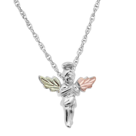 Mt. Rushmore Black Hills Gold on Silver Angel Necklace - 12K Rose Pink and Green Gold Accents - Handmade - MR2259