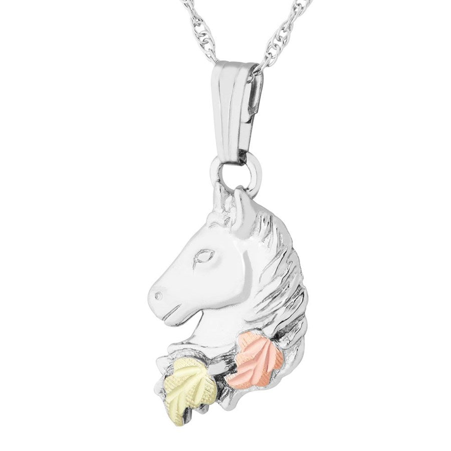 Mt. Rushmore Black Hills Gold on Silver Cute Horse Head Necklace - 12K Rose and Green Gold Accents - Handmade -MR2815