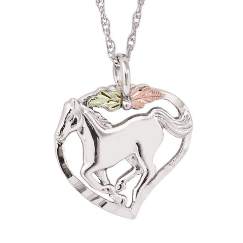 Mt. Rushmore Black Hills Gold on Silver Trotting Horse Necklace - 12K Rose and Green Gold Accents - Handmade -MR2817