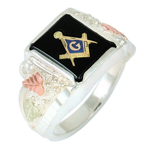 Sizes 13-1/2 - 18 Black Hills Gold on Silver  Onyx Masonic Men's Ring - 10K and 12K -  Made to Order - Handmade -  MRC1363OMASGS