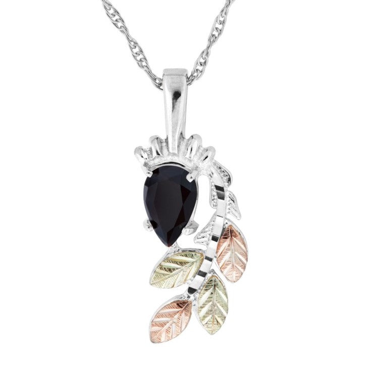 Black Hills Gold on Silver Onyx with Leaves Pendant Necklace - 12K Rose Pink and Green Gold Accents - Handmade -  MRC25190OF-GS