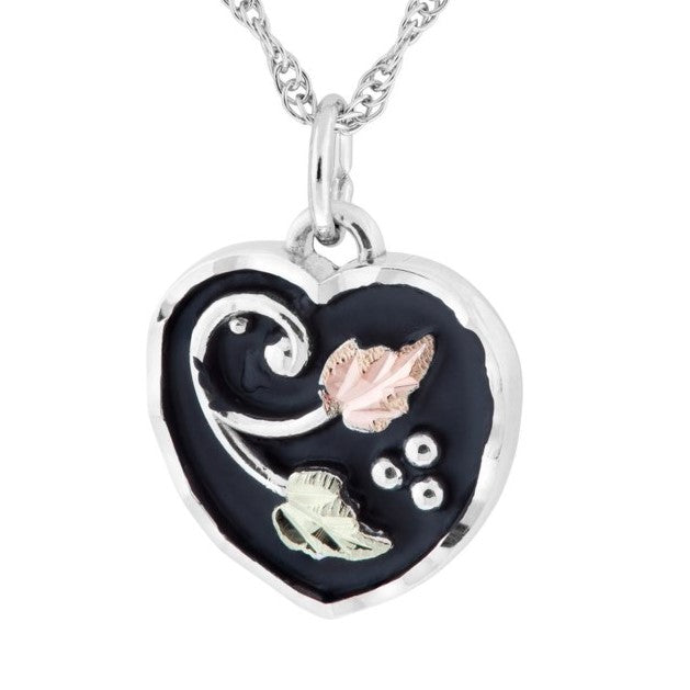 Black Hills Gold on Silver  Antiqued Heart with Leaves Pendant Necklace - 12K Rose Pink and Green Gold Accents - Handmade - MRC25274-ANGS