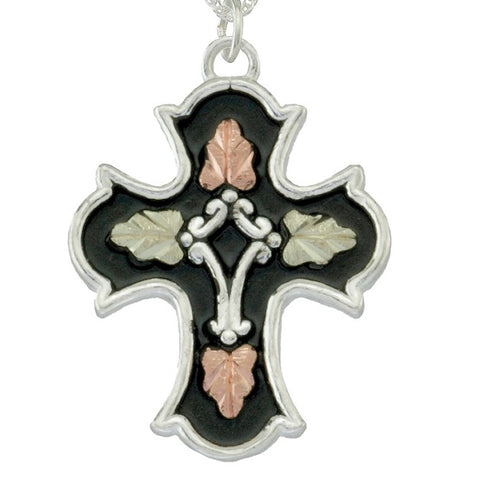 Black Hills Gold on Silver  Antiqued Cross Pendant Necklace - 12K Rose Pink and Green Gold Accents - Handmade -  MRC25299AN-GS