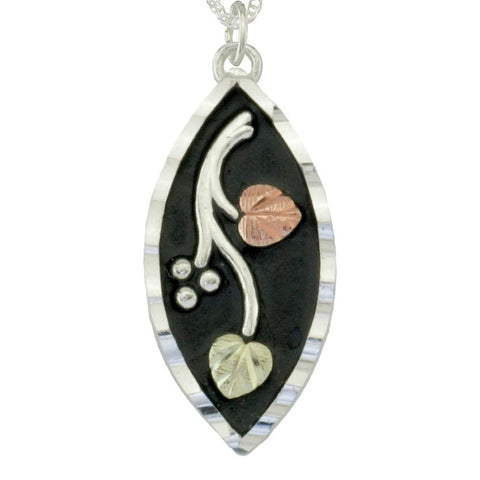 Black Hills Gold on Silver  Antiqued Marquise with Leaves Pendant Necklace - 12K Rose Pink and Green Gold Accents - Handmade - MRC25348AN-GS