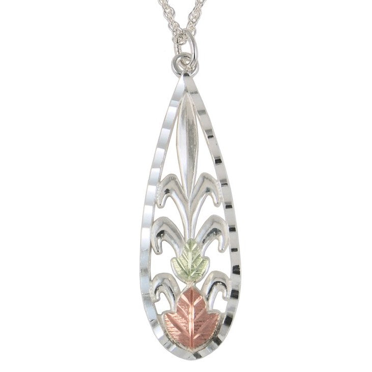 Black Hills Gold on Silver Teardrop with Leaves Pendant Necklace - 12K Rose Pink and Green Gold Accents - Handmade -  MRC25860-GS