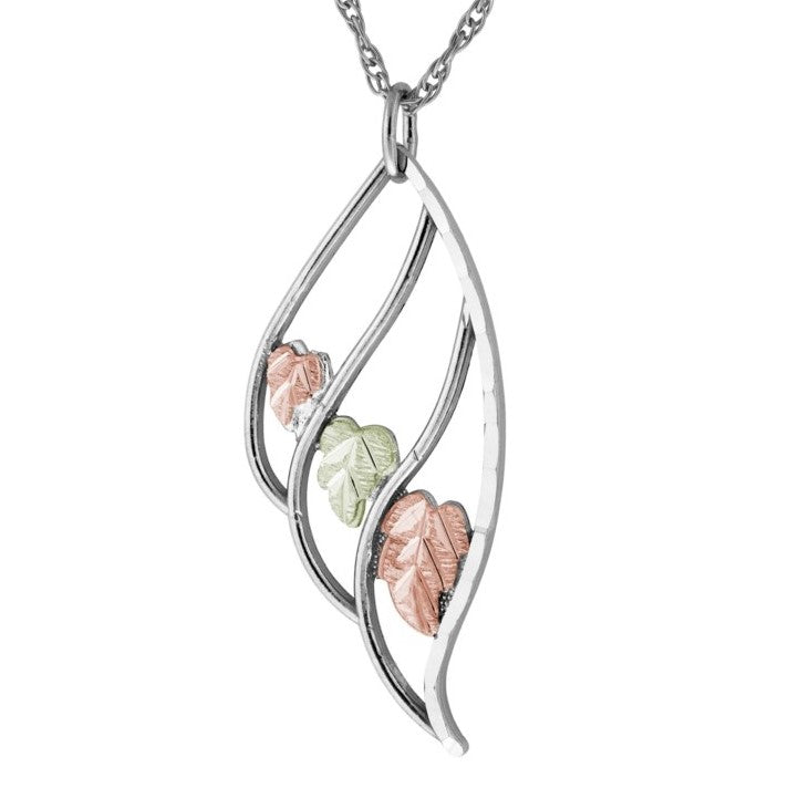 Black Hills Gold on Silver  Outlined Leaf Pendant Necklace - 12K Rose Pink and Green Gold Accents - Handmade -  MRC25917-GS