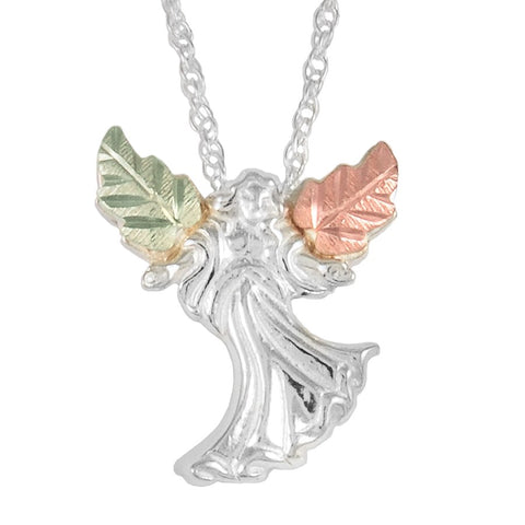 Black Hills Gold on Silver Angel Pendant Necklace - 12K Rose Pink and Green Gold Accents - Handmade - MRC2815-GS