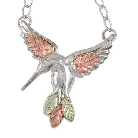 Black Hills Gold on Silver Hummingbird Pendant Necklace - 12K Rose Pink and Green Gold Accents - Handmade - MRC3092-GS