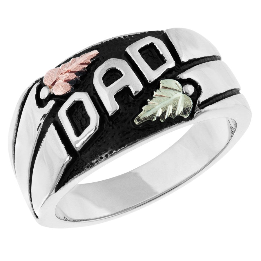 Size 9 - 13 Black Hills Gold on Silver Men's  Antiqued DAD Ring - 10K and 12K - Handmade - MRC40626-ANGS
