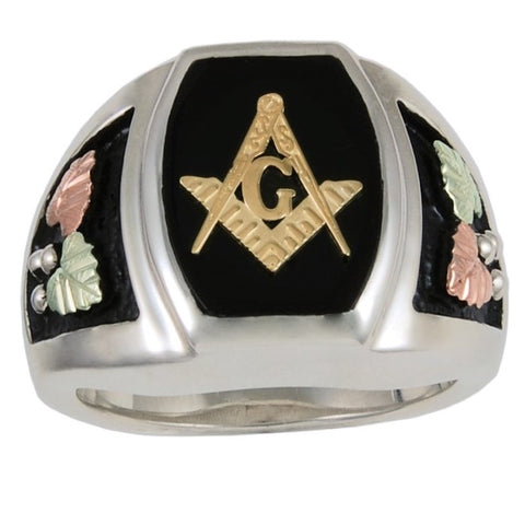Size 9 - 13 Black Hills Gold on Silver Men's  Antiqued Masonic Ring - 10K and 12K - Handmade -  MRC40812O190A