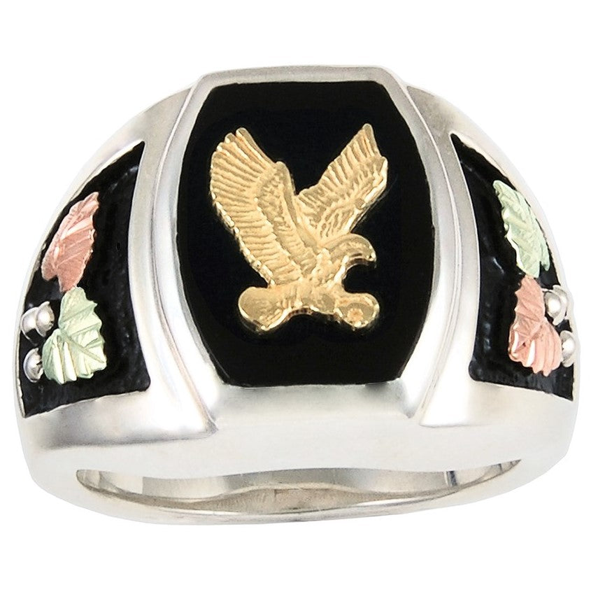 13-1/2 - 18 Black Hills Gold on Silver Men's  Antiqued Gold Eagle with Onyx Ring - 10K and 12K -  Made to Order - Handmade -  MRC40812OA183
