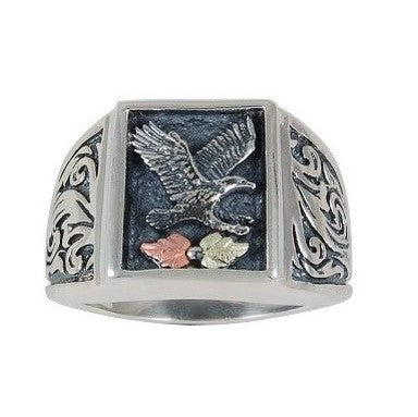 Sizes 13-1/2 - 18 Black Hills Gold on Silver Men's Oxidized Eagle Ring - 10K and 12K -  Made to Order - Handmade -MRC41000-OXGS