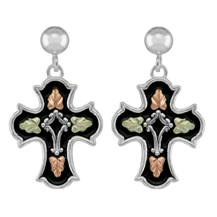 Black Hills Gold on Sterling Silver Antiqued Cross Earrings - 12K Gold Accents - Handmade - MRC50262AN-GS