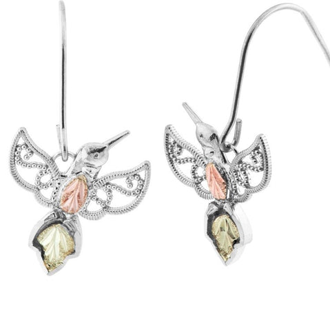 Black Hills Gold on Sterling Silver  Hummingbird Earrings - 12K gold accents - Handmade - MRC50547-GSH