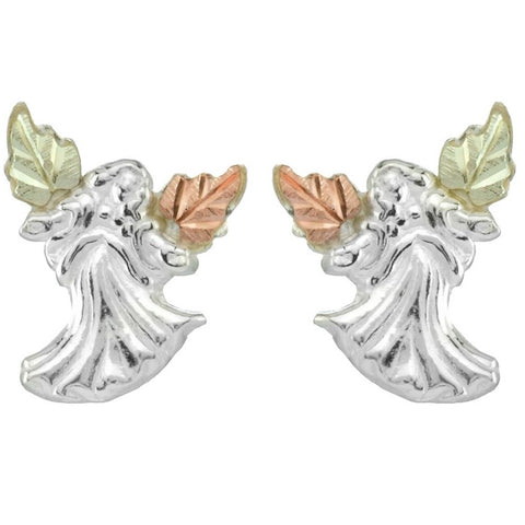 Black Hills Gold on Sterling Silver Angel Earrings - 12K Gold Accents - Handmade - MRC5849-GS