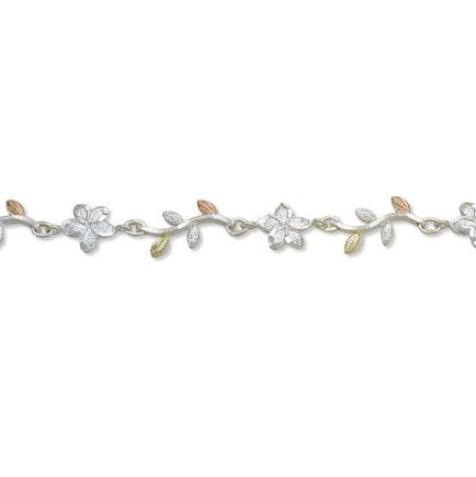 Landstrom's Black Hills Gold on Silver Cute Flowers Bracelet - Sterling Silver with 12K Solid Gold accents - Made To Order -  MRLB01