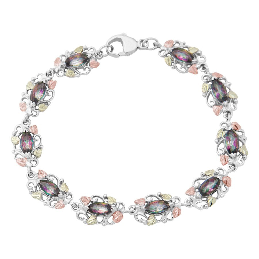 Landstrom's Black Hills Gold on Silver Mystic Topaz Bracelet - Harvest Rainbows - Sterling Silver with 12K Solid Gold accents - Made To Order -  MRLB483-471