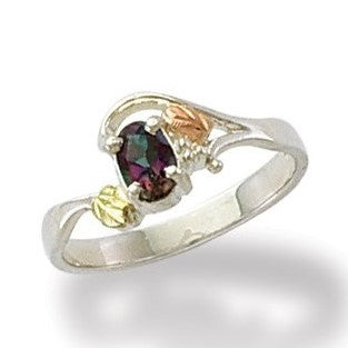 Sizes 5 - 10 Landstrom's Black Hills Gold & Silver Ring - Grape Leaves and Oval Mystic Fire Topaz - Sterling Silver & 12K -   MRLLR2295-471