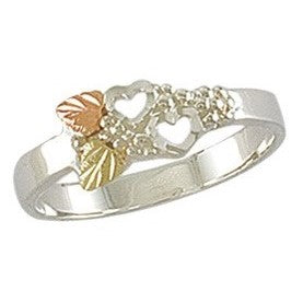 Sizes 5 - 10 Landstrom's Black Hills Gold & Silver Ring - Two Hearts - Two Leaves - Thin Band Ring - Sterling Silver & 12K - MRLLR2307