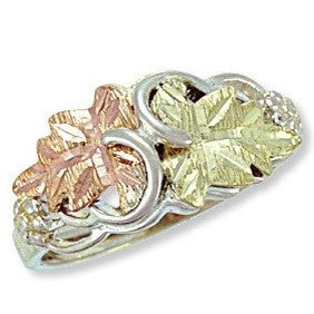 Sizes 5 - 10 Landstrom's Black Hills Gold & Silver Ring - Two Grape Leaves - Sterling Silver & 12K - MRLLR2800