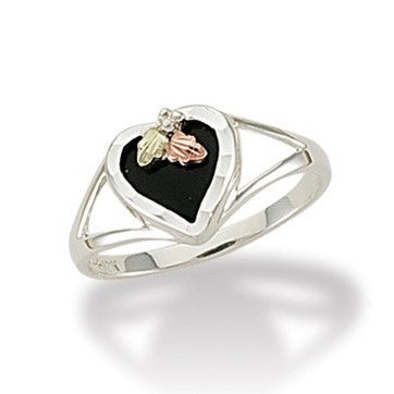 Sizes 5 - 10 Landstrom's Black Hills Gold & Silver Onyx Heart Ring - Sterling Silver & 12K - MRLLR2841