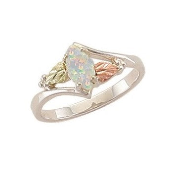 Sizes 3 - 13 Landstrom's Black Hills Gold & Silver Marquise Lab Created Opal Ring - Grape Leaves - Sterling & 12K - Made To Order - MRLLR2948