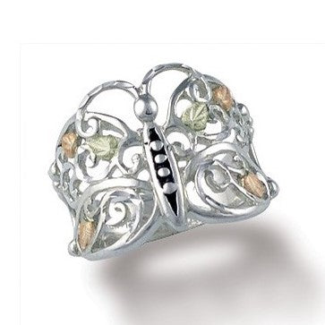 6432289d701df Sizes 5 - 10 Landstrom's Black Hills Gold & Silver Butterfly with Grape  Leaves Ring - Sterling Silver & 12K - MRLLR3000
