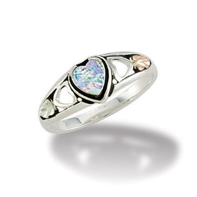 Sizes 3 - 13 Landstrom's Black Hills Gold & Silver  Lab Created Opal Heart Ring - Grape Leaves - Sterling & 12K - Made To Order - MRLLR3046