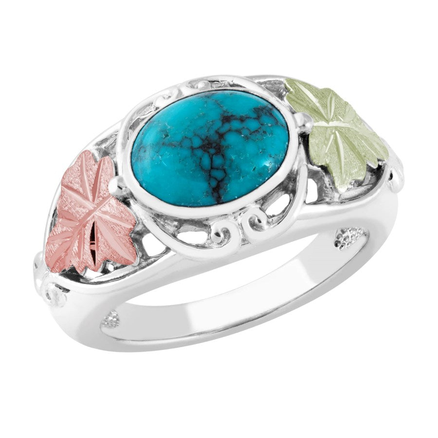 Sizes 5 - 10 Landstrom's Black Hills Gold & Silver Ring - Turquoise with Grape Leaves - Sterling Silver & 12K  -  MRLLR3807TQ