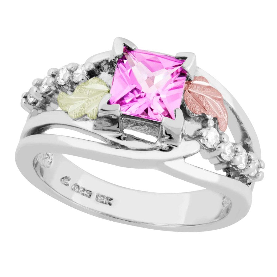 Sizes 3 - 13 Landstrom's Black Hills Gold & Silver Ring - Lab-created Pink Sapphire with CZ's and Grape Leaves - Sterling & 12K  - Made to Order - MRLLR3809-812