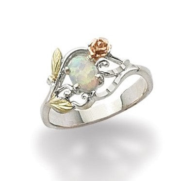 Sizes 5 - 10 Landstrom's Black Hills Gold & Silver Lab Opal Rose Ring - Sterling Silver & 12K gold accents - Handmade - MRLLR603