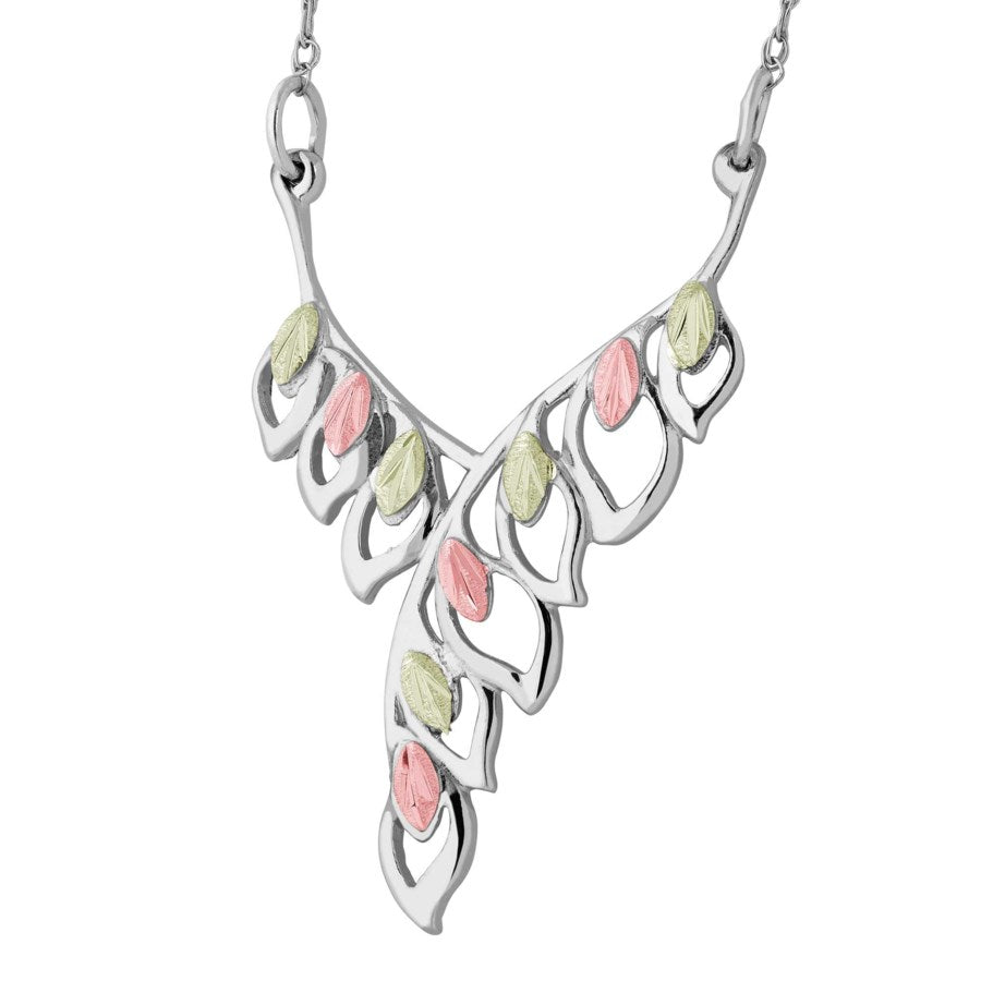 Landstrom's Black Hills Gold on Silver  Leaf Pendant Necklace - 12K Rose Pink and Green Gold Accents - Handmade - MRLNE2320