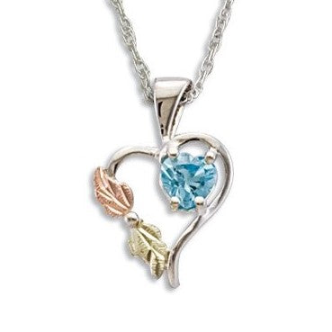 Landstrom's Black Hills Gold on Silver  Swiss Blue CZ Heart Pendant Necklace - 12K Rose Pink and Green Gold Accents - Handmade -  MRLPE1045-105