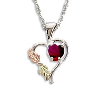 Landstrom's Black Hills Gold on Silver  Synthetic Garnet Heart Pendant Necklace - 12K Rose Pink and Green Gold Accents - Handmade - MRLPE1045-301