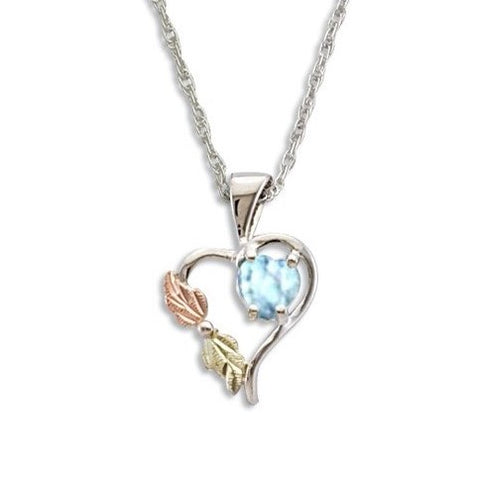 Landstrom's Black Hills Gold on Silver  Synthetic Aquamarine Pendant Necklace - 12K Rose Pink and Green Gold Accents - Handmade - MRLPE1045-303