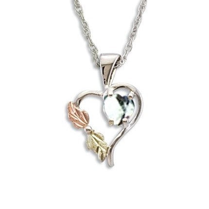Landstrom's Black Hills Gold on Silver  Synthetic White Spinel Heart Pendant Necklace - 12K Rose Pink and Green Gold Accents - Handmade - MRLPE1045-304